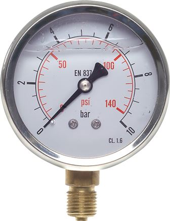 Glycerinmanometer senkrecht Ø 63 mm Chromnickelstahl / Messing, Eco-Line